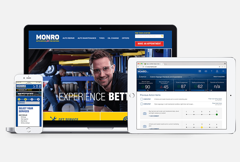 monro inc website on a phone, laptop, and tablet